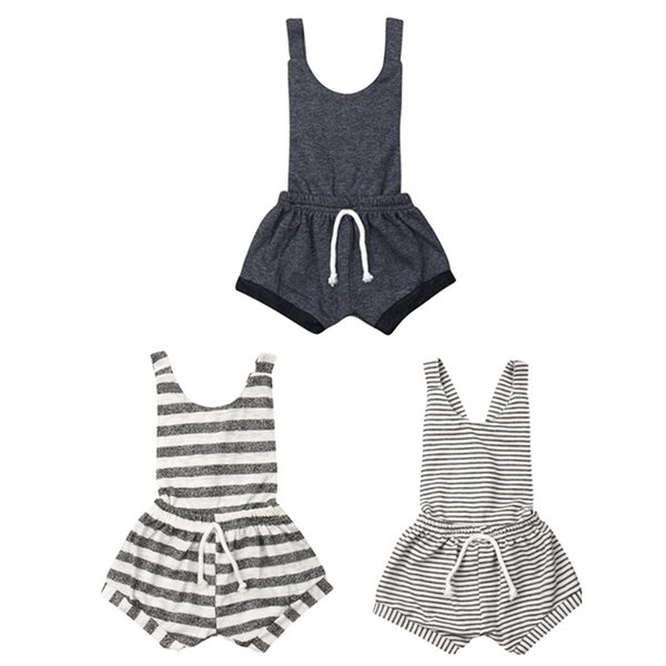 Newborn Kids Baby Girl Sleeveless Striped Backless Suspender Romper Bodysuit