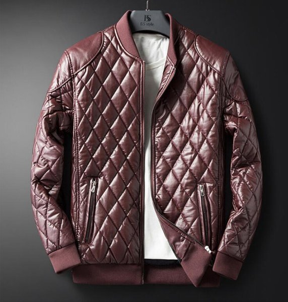 Free shipping new plaid leather jacket men's autumn and winter plus velvet PU leather men's motorcycle clothing men's jacket tide