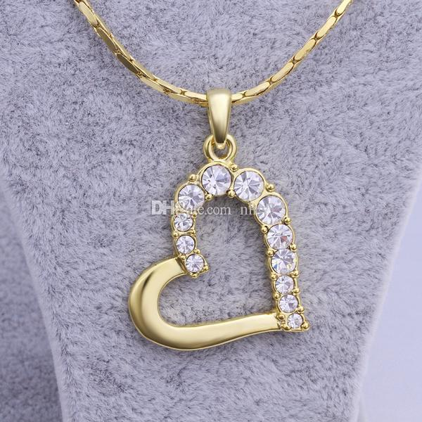best selling Good Quality Love Heart Pendant Necklaces Jewelry Fashion Crystal Rhinestone Heart Necklace Silver Gold Color Valentine Christmas Gift