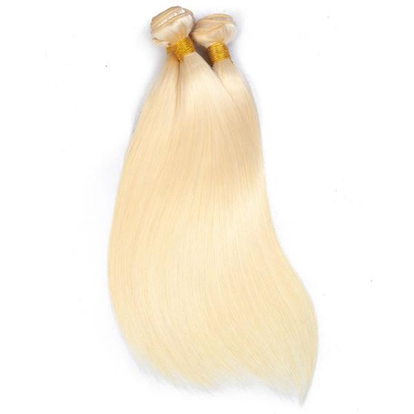 Fasci di capelli biondi peruviani brasiliani peruviani diritti Remy Tessuto con chiusura in pizzo Ombre 1B 613 # Miele Fasci di capelli biondi biondi con Cl