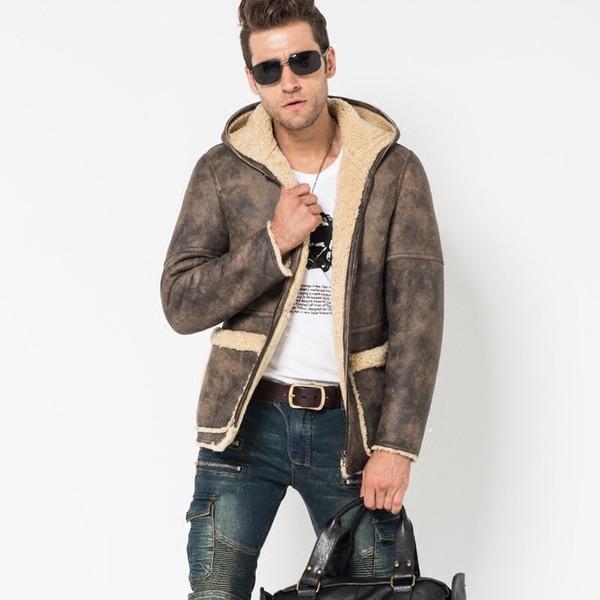 Mens Winter Camo Sheepskin Genuine Leather Jacket Hoodie Real Fur Lining Shearling Coat Business Man Overcoat 4XL