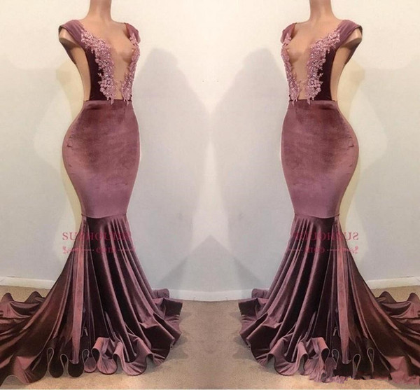 Velvet Lace Beaded Mermaid Prom Dresses 2019 Charming Sexy V Neck Backless Formal Party Gown Evening Pageant Dresses