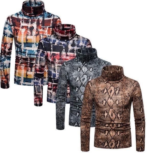 Mens High Neck Sweaters Turtleneck Sweater Winter Warm Snake Leopard Top Sweater Shirt Long Sleeved