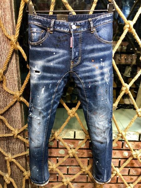 Explosive Jeans Herren D2019 Mode High-End-Loch Schuhe Einfassung Mikro-Slim lässig kleine gerade männlich A221