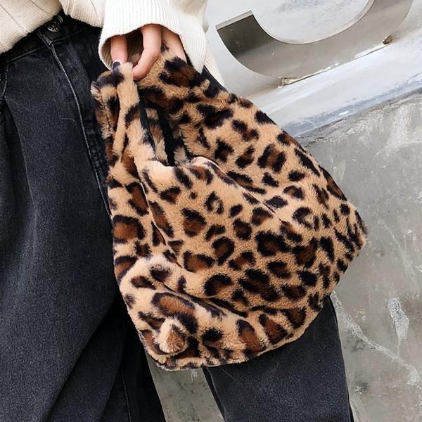 Faux Fur Vest Tote Bags For Women 2018 Female Warm Top-Handle Handbag Girls Leopard Mini Totes Handbags And Purses Drop Shipping D19011204