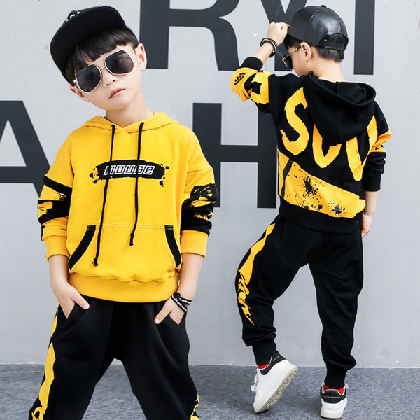 Baby Boys Clothing 2019 Spring and Autumn Hip Hop Suit Children's Sports Suit Personality Hooded Casual Yellow /Black Two-piece
