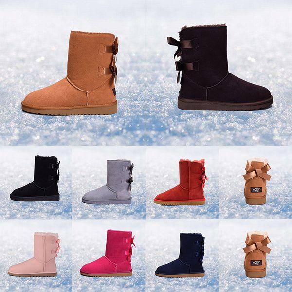 ugg 2019 Nuevas botas para mujer arrivel Australia Botas de nieve clásicas WGG alto cuero real Bailey Bowknot chica invierno desinger Mantener caliente tamaño 36-41