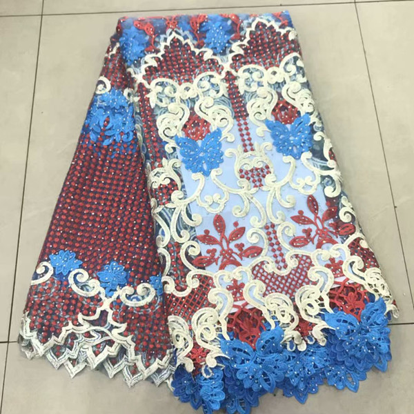 3d african lace fabric 2019 high quality lace with stones wedding lace fabric wholesale nigerian style 5yard/lot