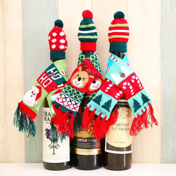 1Set ScarfHat Вязаные Красный бутылки вина украшения Новизна шарф Медведь кисточкой Санта-Клаус Hat для рождественских украшений
