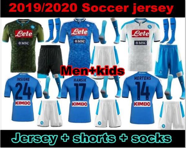 Men+kids 2020 Napoli Home Blue Soccer Jersey 19/20 Naples Away green Soccer Shirt #14 MERTENS #17 HAMSIK #24 INSIGNE 3rd Football Uniforms