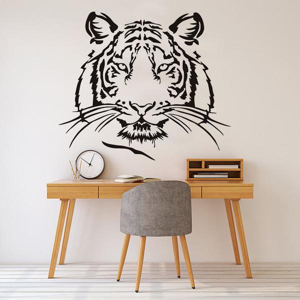 1 Pcs Tête De Tête Silhouette DIY Stickers Muraux Pour Les Chambres D'enfants Animaux Sauvages Vinyle Adhésif Amovible Stickers Mur Art Papier Peint Décor À La Maison
