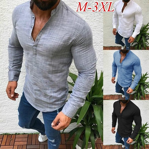 ZOGAA Asian Fashion Mens Pullover Shirt Long Sleeve Linen Shirts Collarless Shirt Men Camisas Manga Comprida