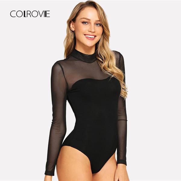 COLROVIE Solid Mock Neck Mesh Schiere Dünne Schwarze Nacht Out Bodysuit Frauen Herbst Langarm Sexy Körper Weibliche Grundlegende Bodys