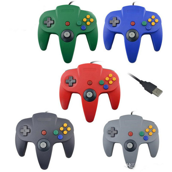2019 Hottest USB Long Handle Game Controller Pad Joystick for PC Nintendo 64 N64 System 5 Color DHL Free