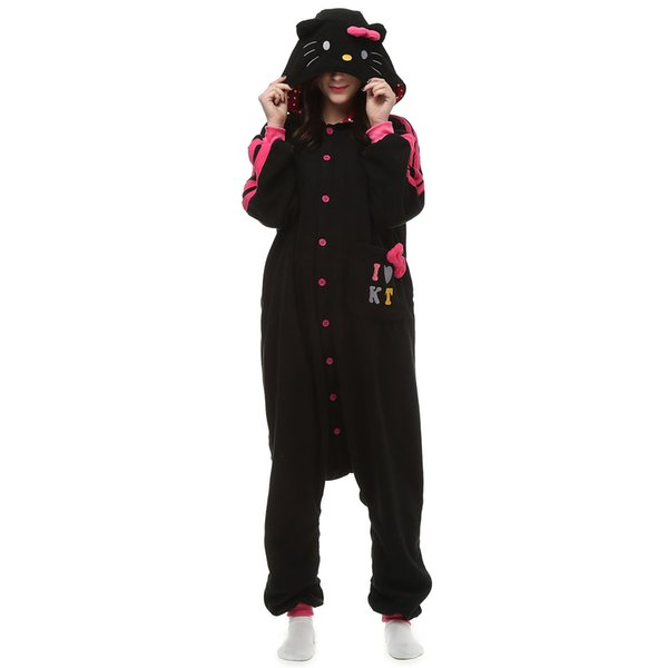 Adult Cartoon Black Kitty Onesie Anime Costume Polar Fleece Cosplay Cat Pyjamas Halloween Carnival Jumpsuit Loose Masquerade Outfit