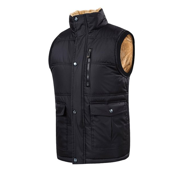 Puimentiua Plus Size 5XL Vest Men Winter Warm Vests Male With Many Pockets Casual Zipper Patchwork Sexy Sleeveless Jacket Vest