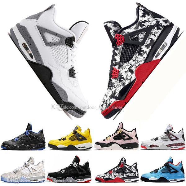 Lo nuevo Bred 4 4s What The Cactus Jack Laser Wings para hombre Zapatillas de baloncesto Denim Blue Eminem Pale Citron Hombres Deportes Zapatillas de deporte al aire libre