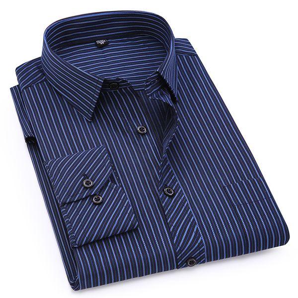 Plus Large Size 8xl 7xl 6xl 5xl 4xl Mens Business Casual Long Sleeved Shirt Classic Striped Male Social Dress Shirts Purple Blue Q190518