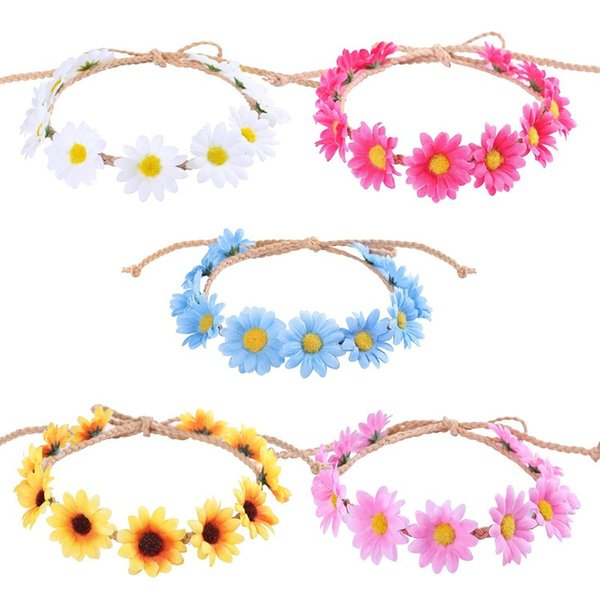Sunflower Hair Hoop Small Knitted Chrysanthemum Garland Colorful Daisy Flowers Wreath Straw Hat Ornament New Style 2 6cx O1