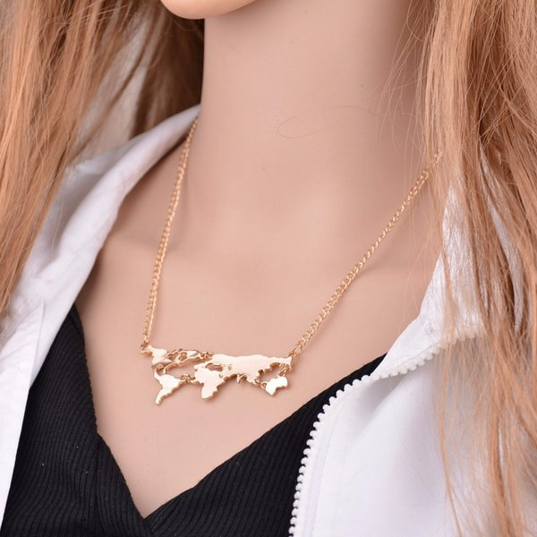 "18/"" Globe World Map Rose Gold Pendant Necklace 45cm Long Chain"