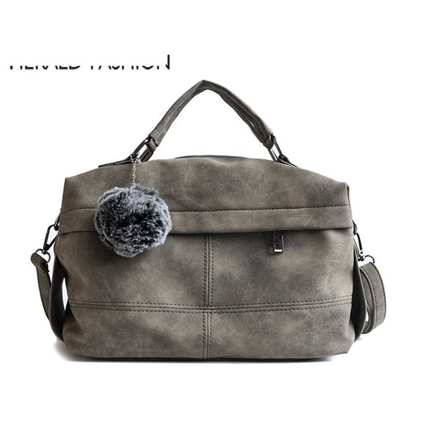 good quality Vintage Nubuck Leather Female Top-handle Bags Rivet Larger Women Bags Hair Ball Shoulder Bag Motorcycle Tote Bags