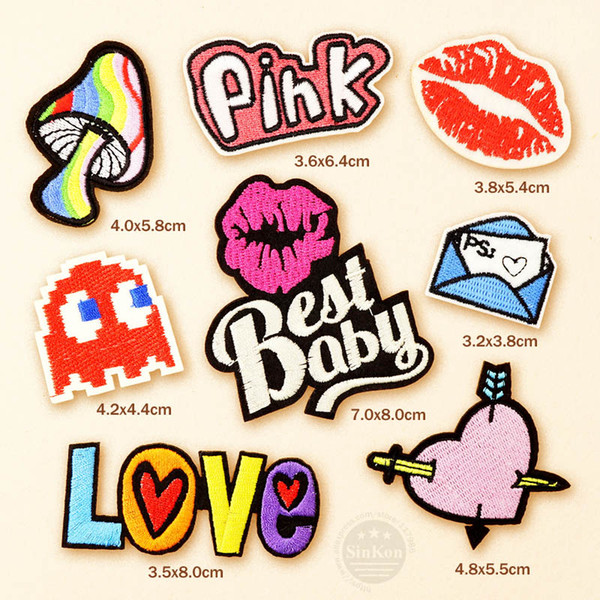 100pcs/lot Best Baby Pink Love Kiss Patches Badges DIY Embroidery Patch Applique Clothes Clothing Sewing Supplies Decorative