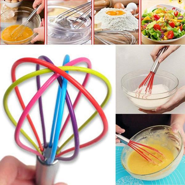 Vendita calda Cucina Egg Frother Milk Beater Blender Colorful Silicone Balloon Wire Frullino Frullino in acciaio inox Utensili da cucina Nuovo