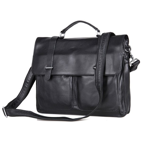 Nesitu Promotion Black Genuine Leather Men Briefcase 14'' Laptop Portfolio Men's Messenger Bags Male Shoulder Bag M7100 #786907