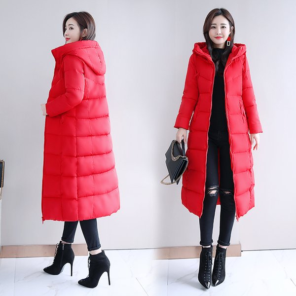 Winter coat 2018 new thicken long over knee slim fit fashion hooded warm down jacket
