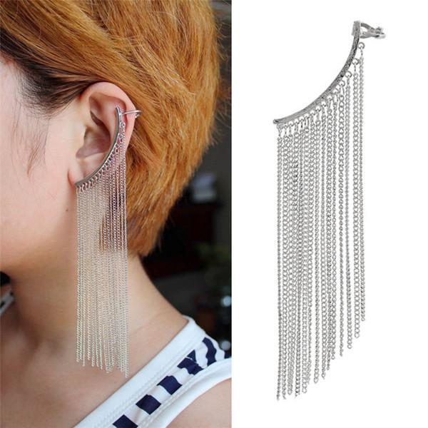Gold Color Silver Color Long Chain Tassels Ear Cuff Earings Women Boho Ethnic Clip Earrings Simplicity Clip on Earrings Bijoux Femme