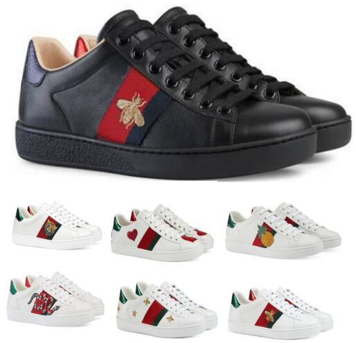 Ucuz Tasarımcı Tekne Flats Loafers Casual Ayakkabı Sneakers Erkek Kadın Düşük Beyaz Hakiki Deri Python Kaplan Arı Çiçek Işlemeli Klasik Ayakkabı