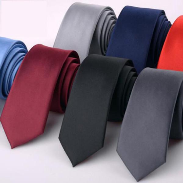 Mode 6 cm Solide Dünne Krawatte für Mann Formelle Kleidung Seidenkrawatte Hochzeit Business Schwarz Rot Blau Dünne Gravatanecktie Herren Geschenk