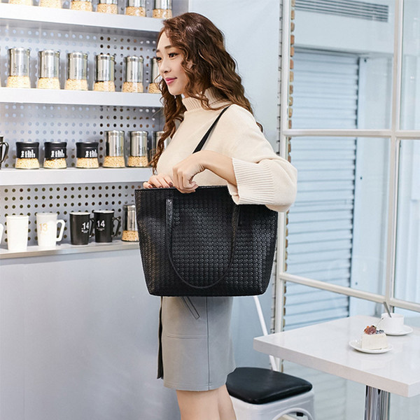 Casual Women Leather Handbag Black Shoulder Bags Large Capacity Tote Bag Female Designer Shopping Bags Hand Bag