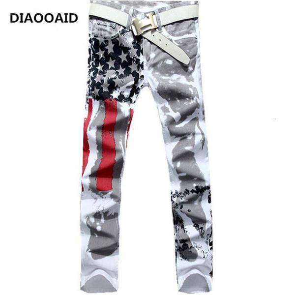 2018 Nuovi uomini di arrivo Casual American Usa Flag Jeans stampati Mens Graffiti Stampa Bianco Pantaloni alla moda hip-hop Pantaloni slim fit Y190510