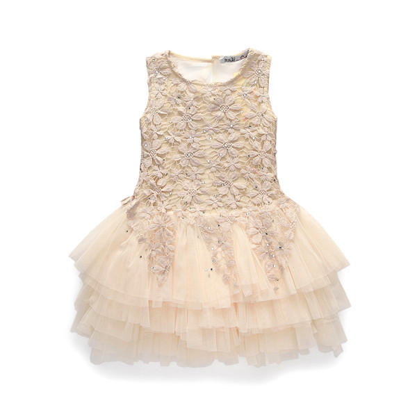 Compre Summer New Lace Vest Girl Dress Baby Girl Princess Dress 3 7 Age Chlidren Clothes Kids Party Costume Ball Gown Beige A 1085 Del