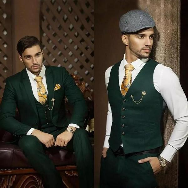 New Fashion Green Slim Fit Groom Tuxedos Notch Lapel Groomsmen Mens Wedding Dress Excellent Man 3 Piece Suit(Jacket+Pants+Vest+Tie) 635