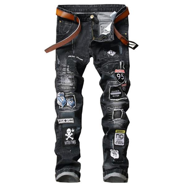 NEW Scratched Men Denim Jeans With Biker Patchwork Slim Fit Black Jeans Punk Rock Rap Washed Straight Men Ripped Pants Trousers