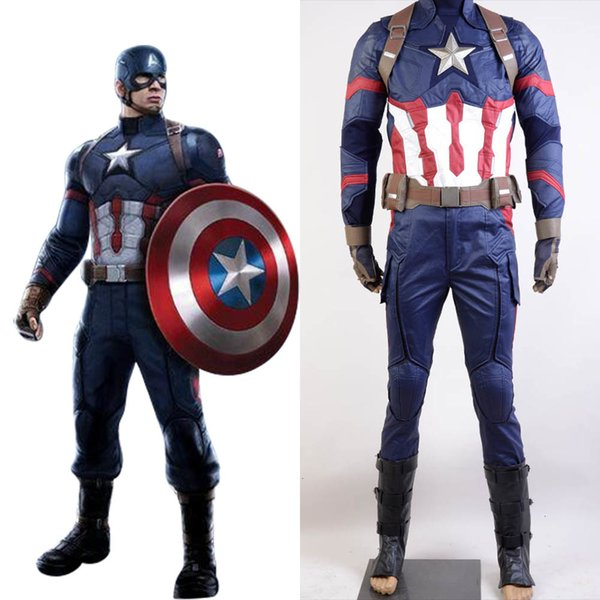 Captain America Guerre civile Carnaval Cosplay Costume Captain America Costume Adulte Hommes Halloween Ensemble complet Costume Steve RogersMX190921