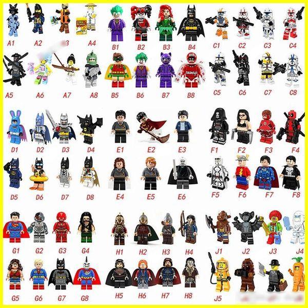 Más caliente tipo 70 Minifig Super héroes Vengadores Spiderman Guerras del espacio Harry Potter Hobbit Figura Super héroe Bloques Figuras de acciónJuguetes