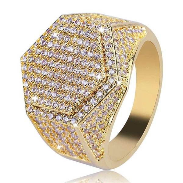 New Fashion Hiphop Hexagon Rings For Men Top Quality Brand Design 18K Gold Plated Hip Hop Jewelry Bling Ice Out Hip Hop Ring