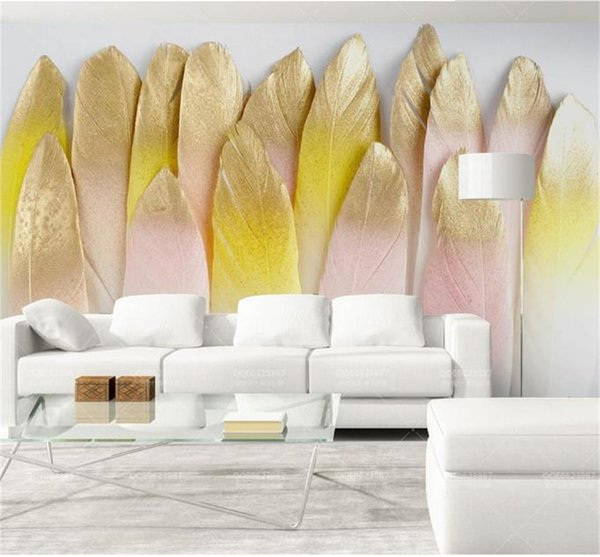 Custom Size 3D Photo Wallpaper Living Room Mural Coloured Gold-plated Feather Picture Mural Home Decor Creative Hotel Study Wall Paper 3 D
