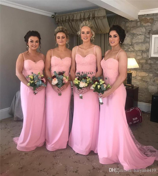 2020 новый дешевый розовый русалка подружки невесты платья спагетти ремни без рукавов кружева спинки сексуальная черная девушка плюс размер платья фрейлина
