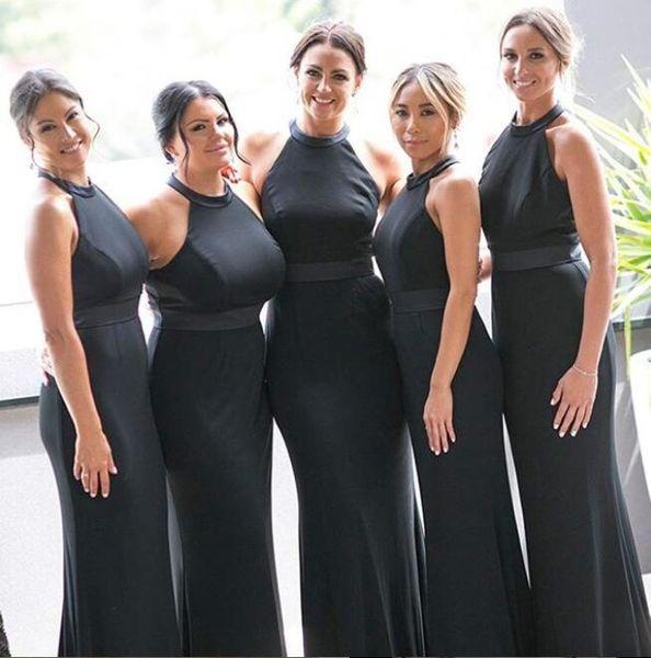2019 halter Africano sereia preto Vestidos dama de honra Comprimento Pavimento Cheap Wedding Dress Visitante mancha Modest feitos dama de honra Prom Vestidos