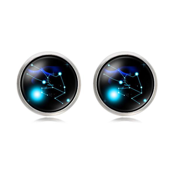 Size11 2019 nueva moda camisa francesa gemelos Zodiac 12 constelación estrella tiempo joya hombres gemelos de fábrica de encargo