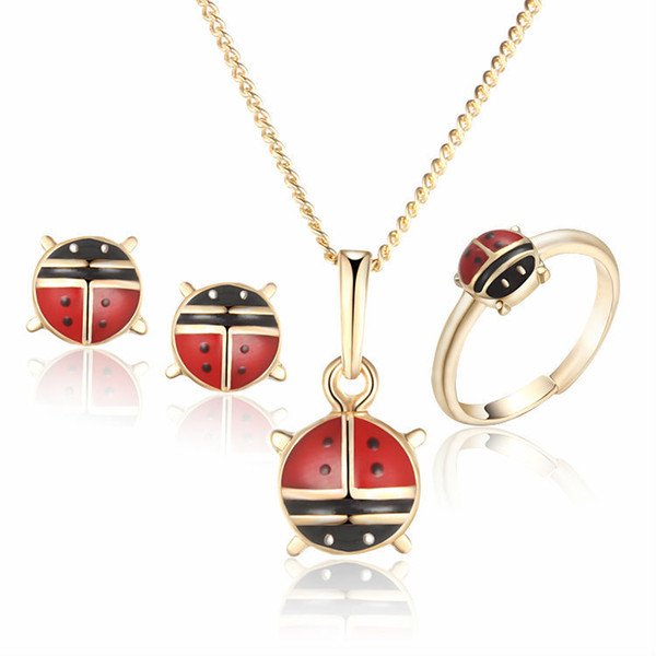 Children Jewelry Sets Baby Costume Heart Ring Earrings Pendant Necklace For Kid Gold-Color 1S18K-57 gift