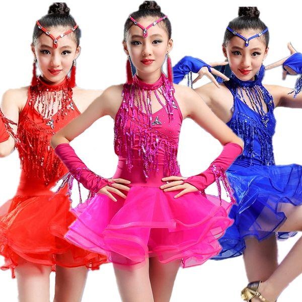 Paillettes Abito da ballo latino Tutu Costumi di danza Vestiti per ballare Salsa Tango Ballroom Baby Girl Costume da donna vestidos