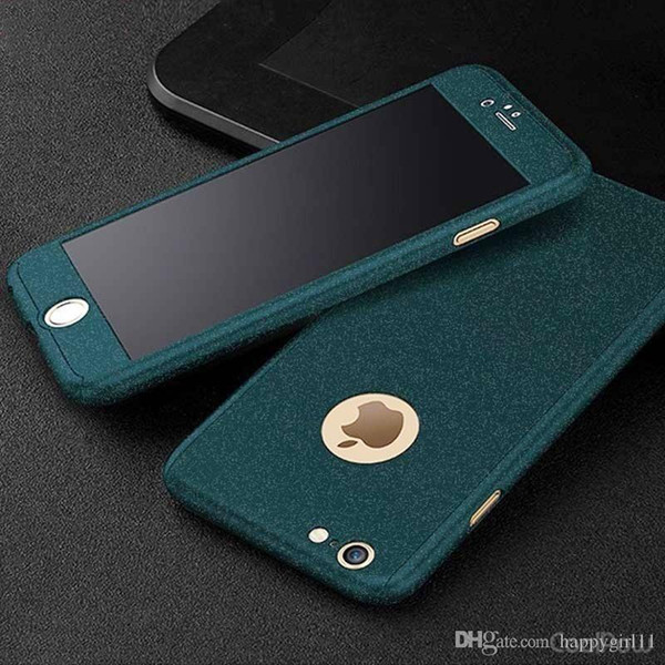E73 360 full body Matte Finish Dual Layer Hard Case for funda iPhone 7 6 6S 5 5S SE 7 Plus with Tempered Glass Screen Protector