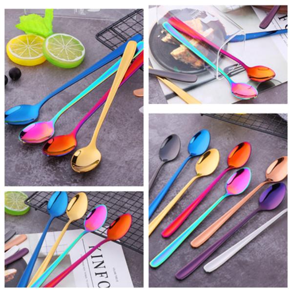 304 in acciaio inox stoviglie paletta ghiaccio vuoto di titanio colorazione gelato scoop coreano manico lungo scoop cucchiai miscelazione T2I5275