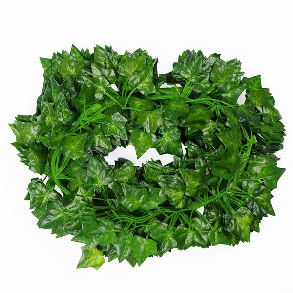 2 M Artificial Ivy Leaf Garland Plants Green Vine Fake Foliage Decoration Flowers Home Plastic Flower Artificial Rattan Strings -Simulation