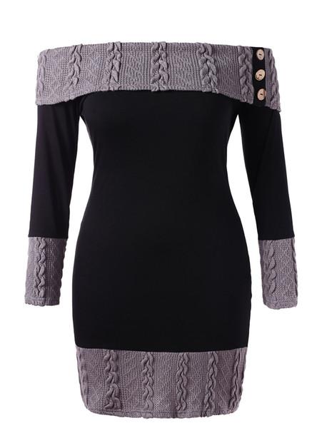 Plus Size Zopfmuster von der Schulter, figurbetontes Kleid